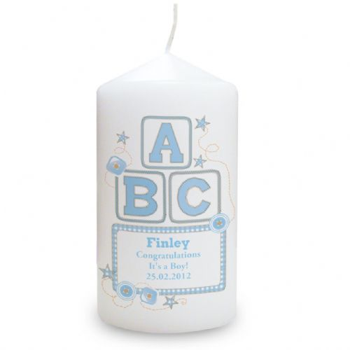 Personalised Blue ABC Candle